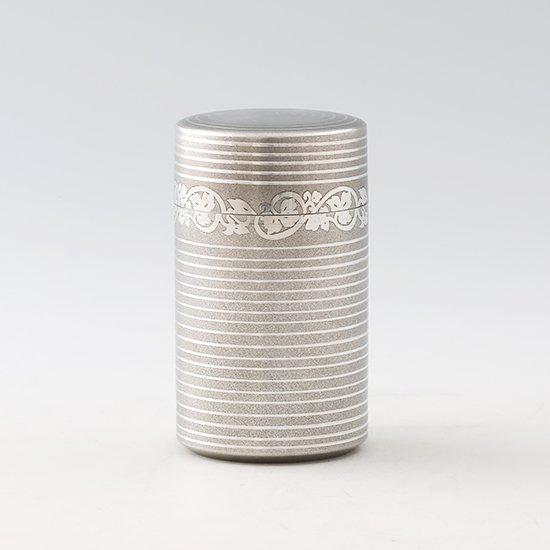 錫 茶筒 唐草 イブシ加工 120g 商品番号:13