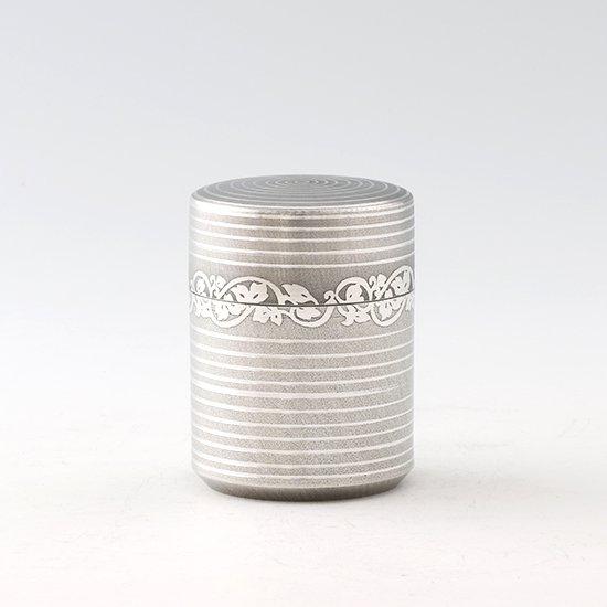 錫 茶筒 唐草 イブシ加工 90g 商品番号:14