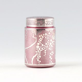 錫 茶筒 ぶどう イブシ加工 紫 120g 商品番号:17-2/名入れ・マーク入れ 不可