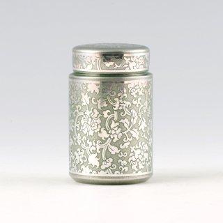 錫 茶筒 牡丹唐草 イブシ加工 緑 120g 商品番号:17-3/名入れ・マーク入れ 不可