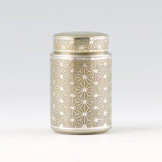 錫 茶筒 松の葉 イブシ加工 黄 120g 商品番号:17-5/名入れ・マーク入れ 不可【予約販売商品】