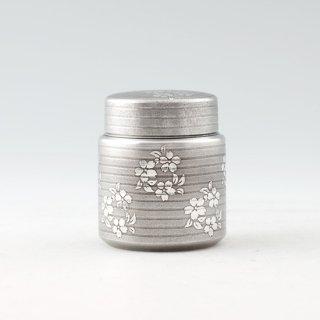 錫 茶筒 桜 イブシ加工 90g 商品番号:18/名入れ・マーク入れ 不可