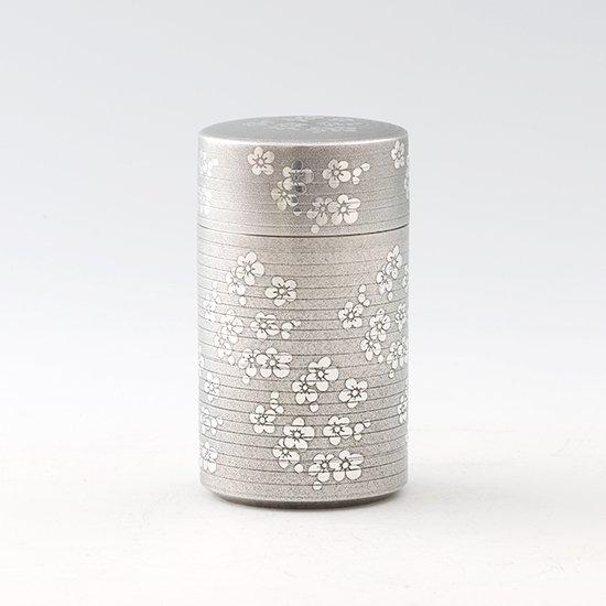 錫 茶筒 梅 イブシ加工 120g 商品番号:22