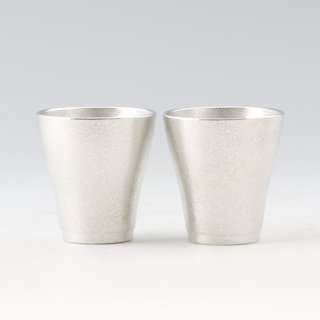 錫 フリーカップゼロ2個セット 吹雪加工 140ml 商品番号:78A-1/名入れ・マーク入れ 不可