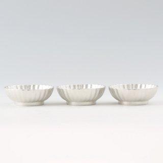 錫 小鉢菊3枚セット 白仕上げ 商品番号:1300-1/名入れ・マーク入れ 不可