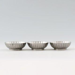 錫 小鉢菊3枚セット 漆黒仕上げ 商品番号:1300-2/名入れ・マーク入れ 不可