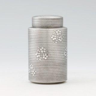 錫 茶筒 桜柄 黒漆加工 200g 商品番号:15/名入れ・マーク入れ 不可