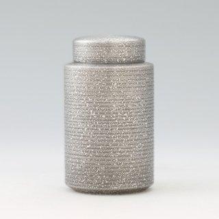 錫 茶筒 吹雪 黒漆加工 200g 商品番号:15-2/名入れ・マーク入れ 不可
