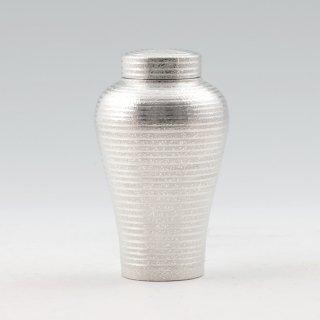 錫 茶筒 吹雪 白上げ加工 180g 商品番号:127C-1/名入れ・マーク入れ 不可