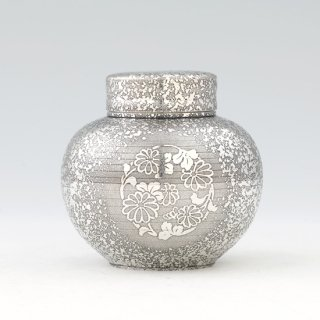 錫 茶壺 吹雪黒漆加工 180g 商品番号:49/名入れ・マーク入れ 不可