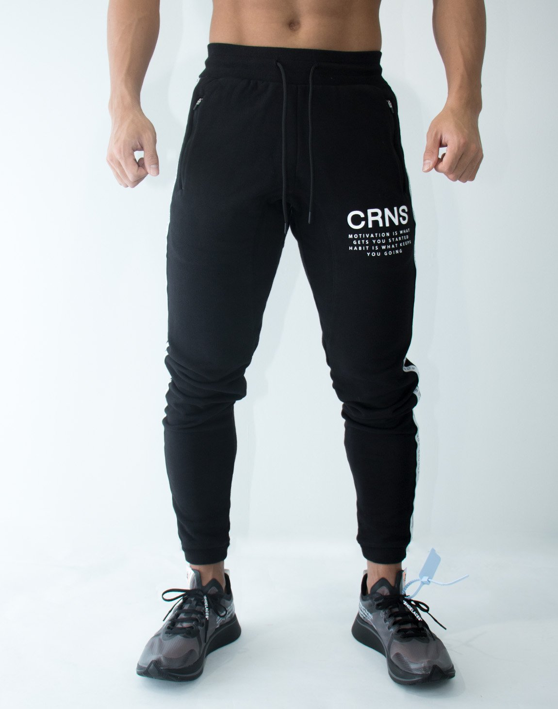 CRNS Logo Tape Long Sweat Pants  BLACK