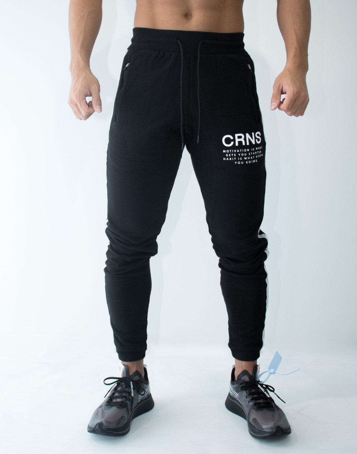CRNS Logo Tape Long Sweat Pants  BLACK