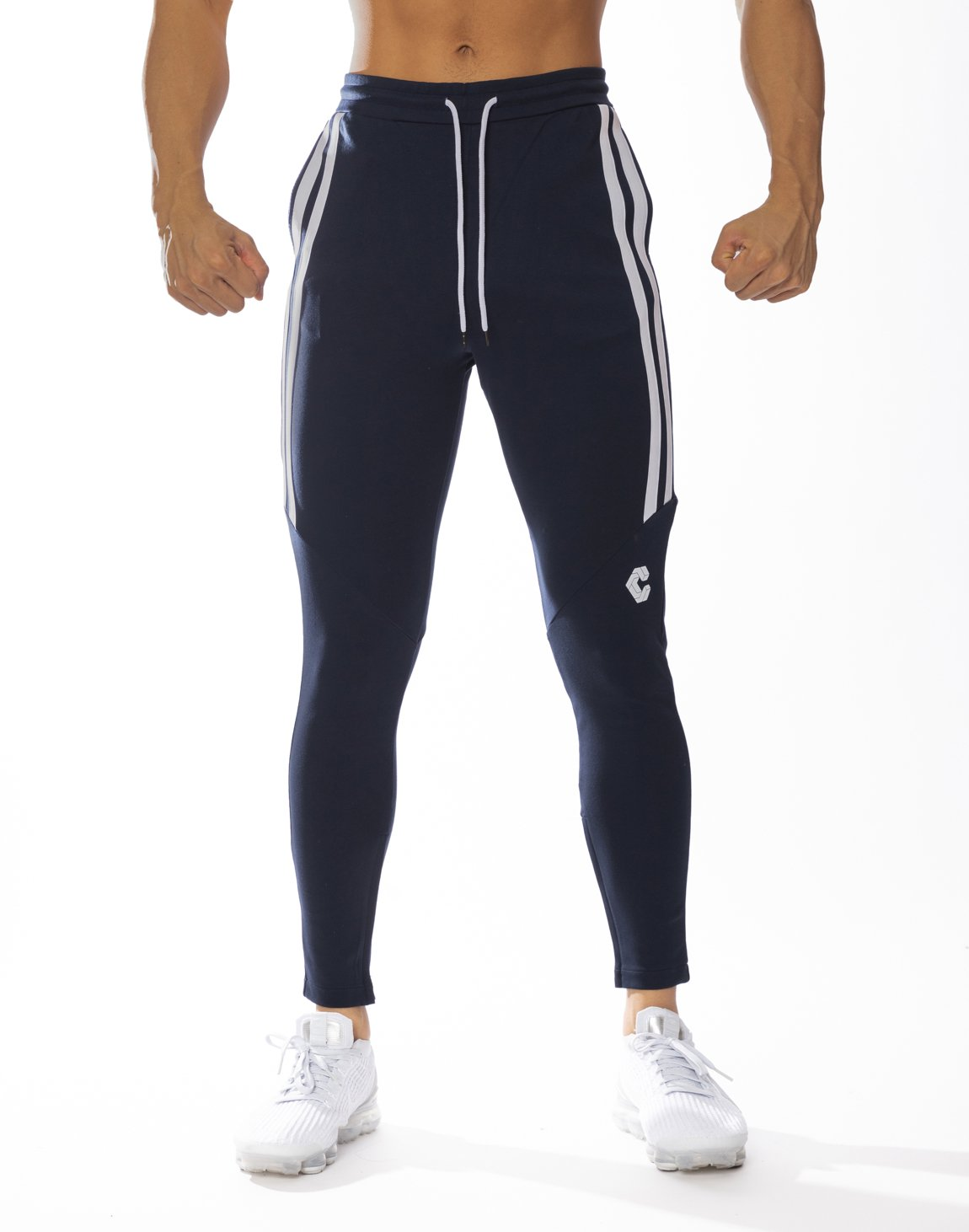 <img class='new_mark_img1' src='https://img.shop-pro.jp/img/new/icons1.gif' style='border:none;display:inline;margin:0px;padding:0px;width:auto;' />CRONOS HALF 2STRIPE CALF LOG PANTS 【NAVY】