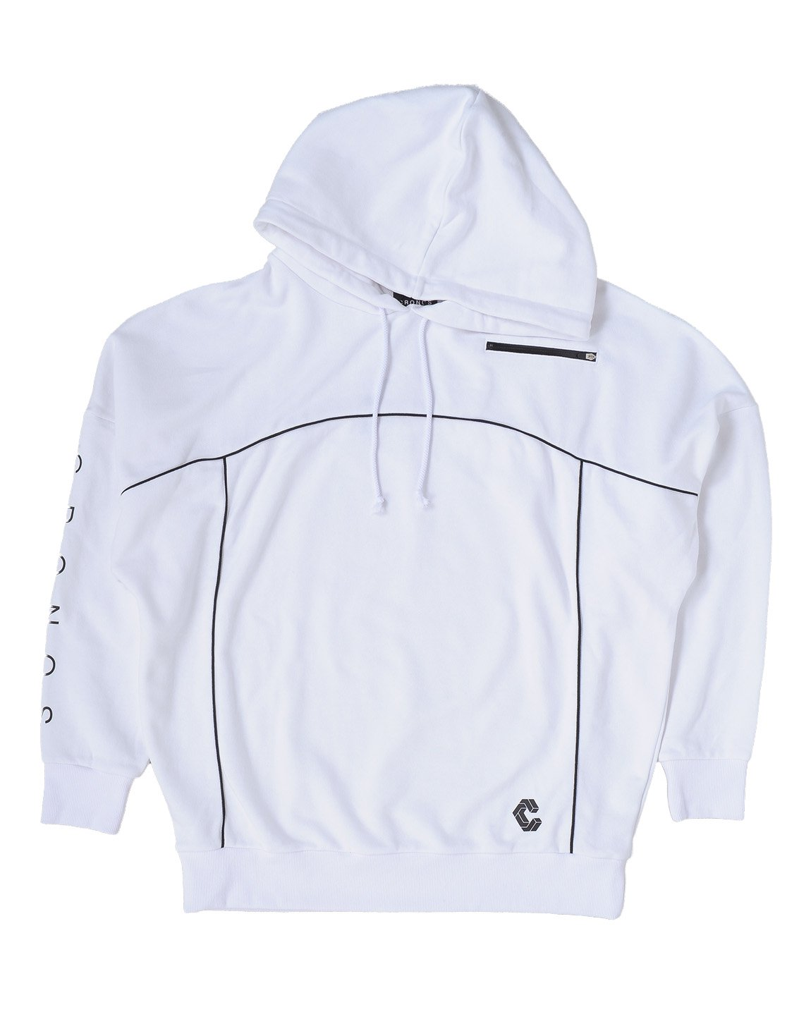 CRONOS ARM LOGO LINE ACCENT BIG SIZE HOODY【WHITE】
