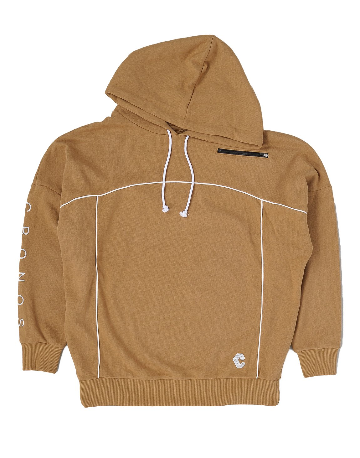 CRONOS ARM LOGO LINE ACCENT BIG SIZE HOODY【BROWN】