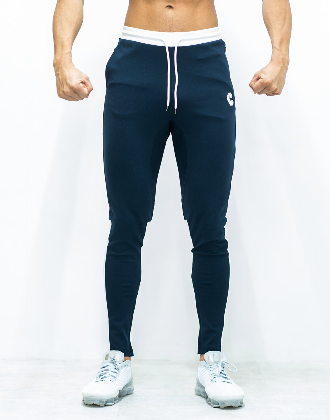 <img class='new_mark_img1' src='https://img.shop-pro.jp/img/new/icons1.gif' style='border:none;display:inline;margin:0px;padding:0px;width:auto;' />CRONOS CALF LOGO Bi-COLOR PANTS 【NAVY×WHITE】