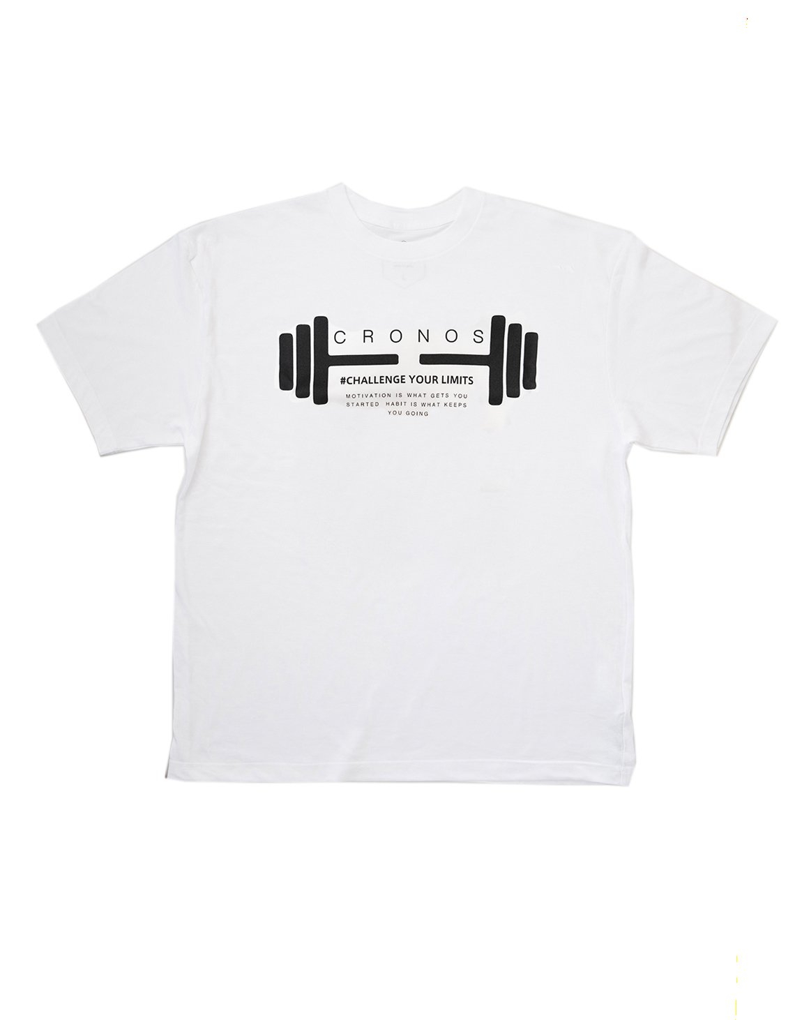 <img class='new_mark_img1' src='https://img.shop-pro.jp/img/new/icons1.gif' style='border:none;display:inline;margin:0px;padding:0px;width:auto;' />CRONOS DUMBBELL LOGO T-SHIRTS【WHITE】