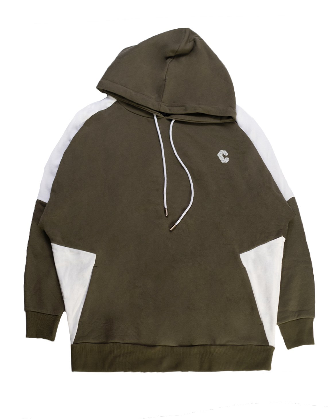 CRONOS NEW SHOULDER COLOR HOODY【KHAKI×WHITE】