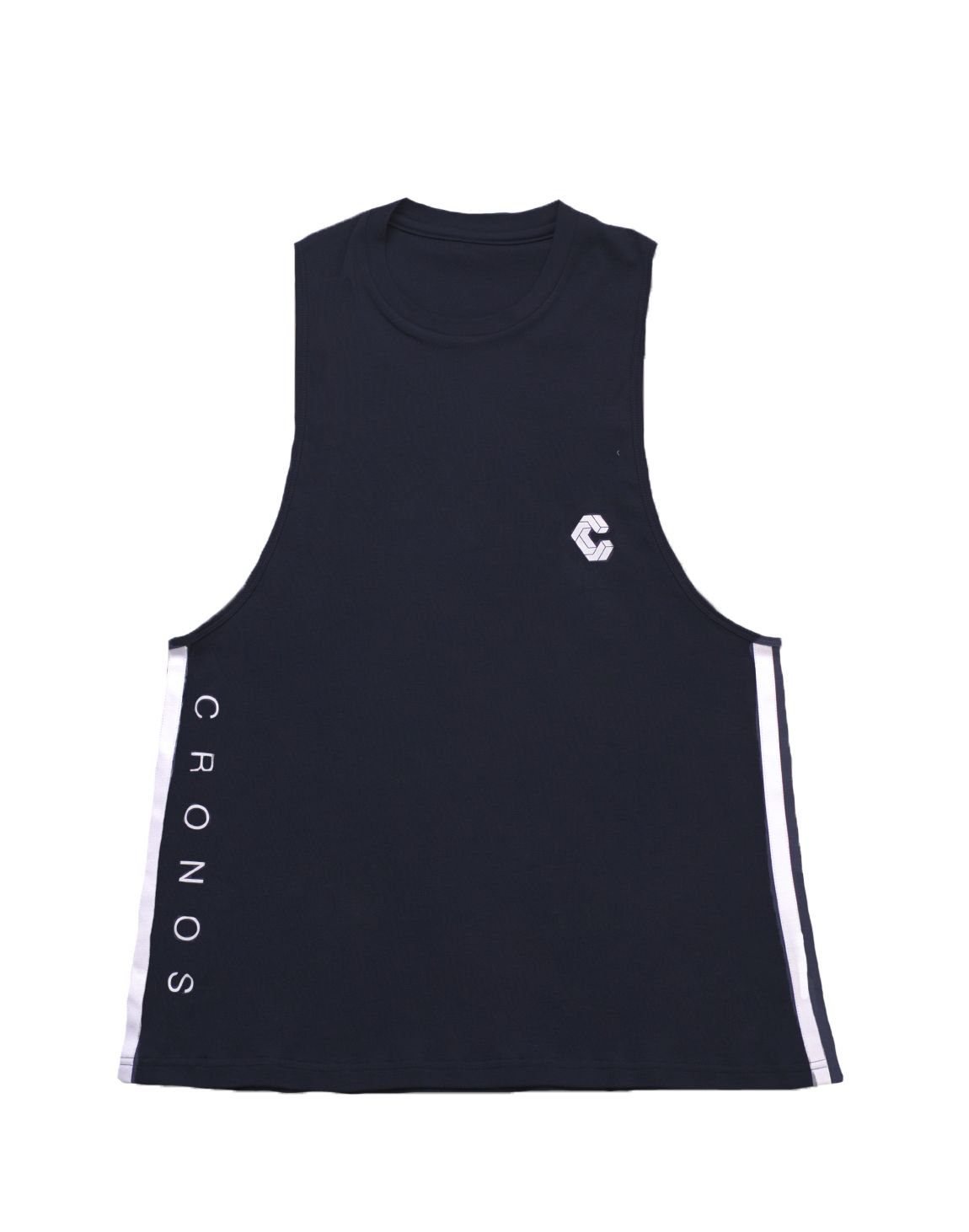 CRONOS NEW SIDE TWOLINE TANK TOP【BLACK】