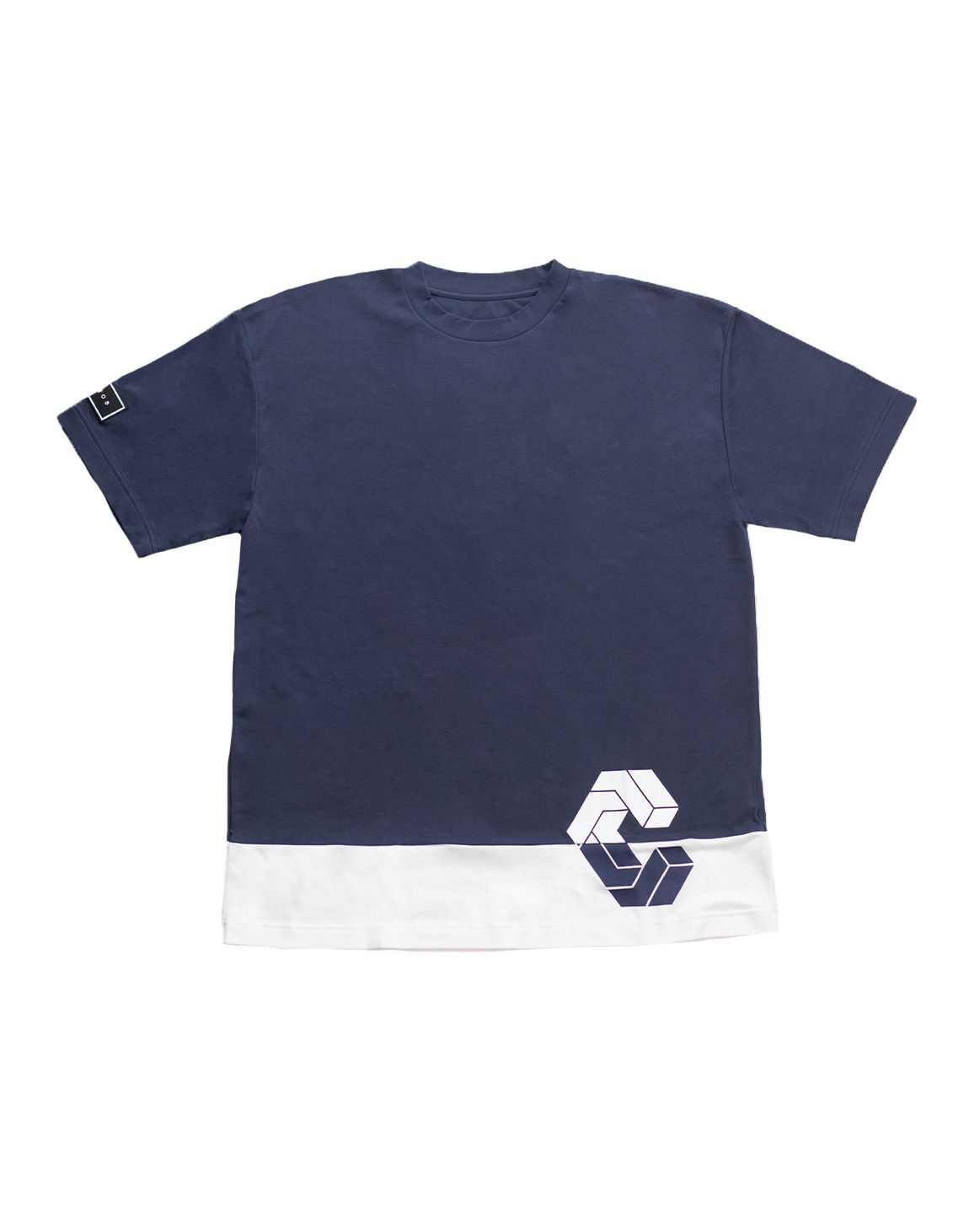 <img class='new_mark_img1' src='https://img.shop-pro.jp/img/new/icons1.gif' style='border:none;display:inline;margin:0px;padding:0px;width:auto;' />CRONOS MODE SIDE LOGO OVER SIZE T-SHIRTS【NAVY×WHITE】