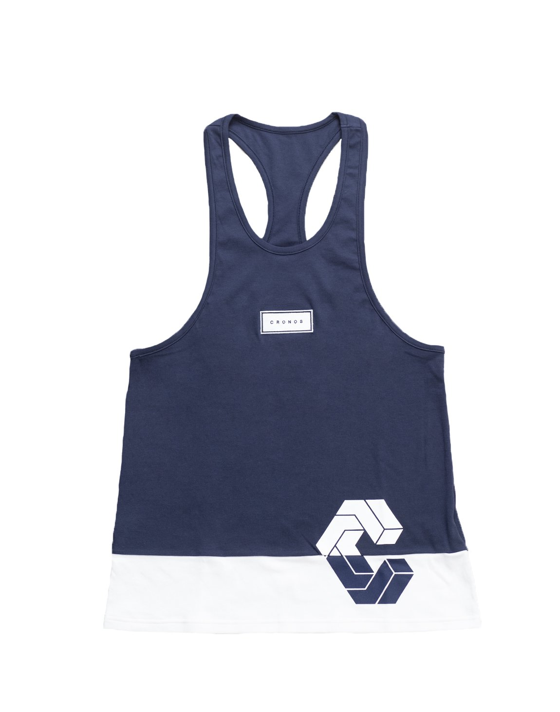 <img class='new_mark_img1' src='https://img.shop-pro.jp/img/new/icons1.gif' style='border:none;display:inline;margin:0px;padding:0px;width:auto;' />CRONOS BOX MODE SIDE LOGO TANK TOP【NAVY×WHITE】