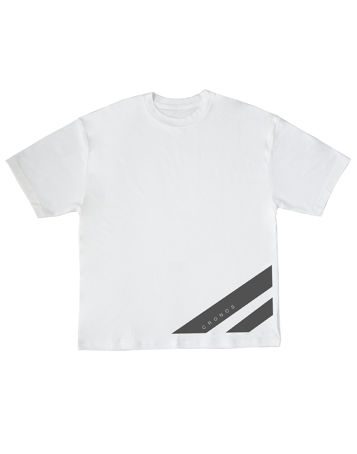 CRONOS STRIPE LOGO NEW OVER SIZE T-SHIRTS【WHITE】