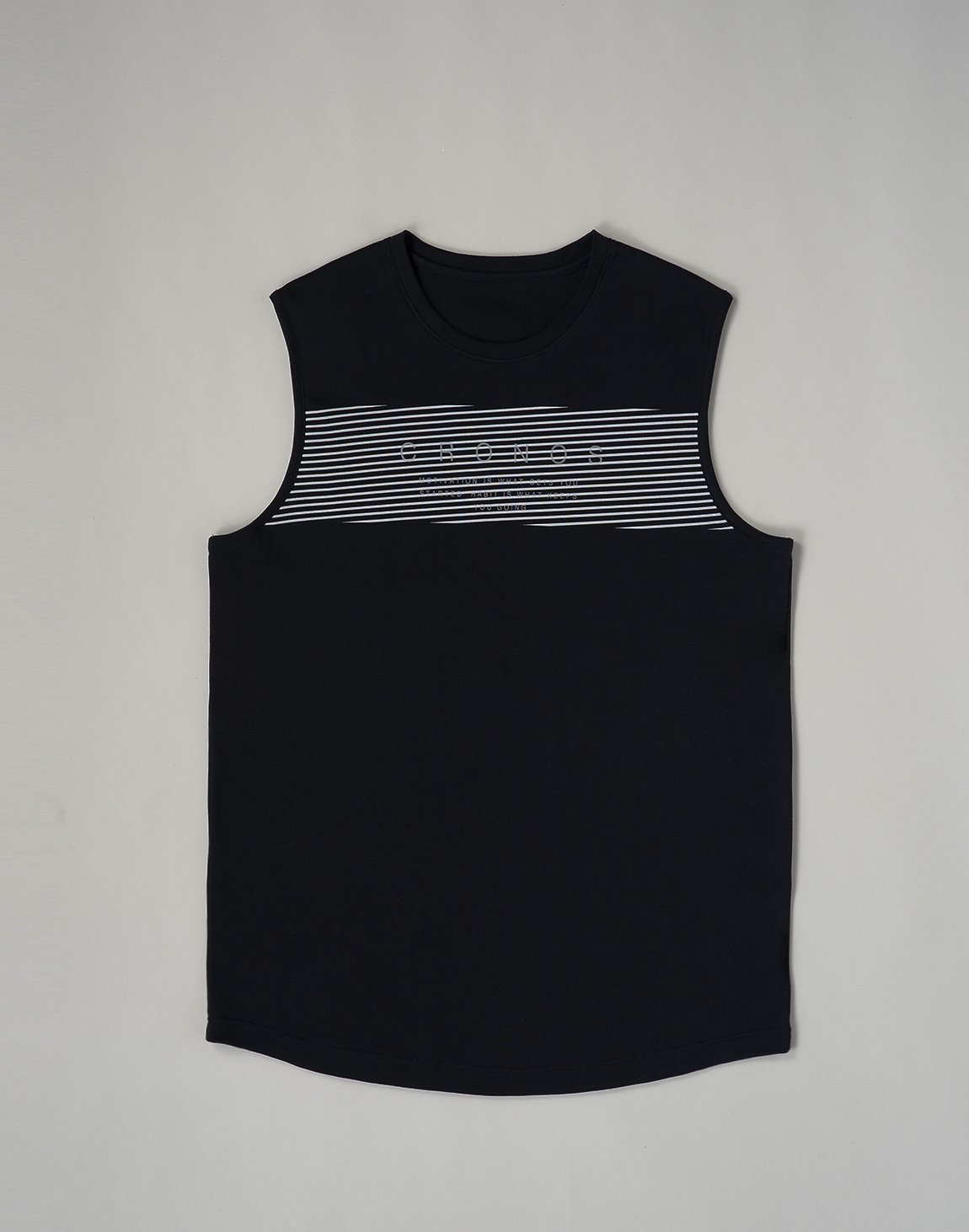 <img class='new_mark_img1' src='https://img.shop-pro.jp/img/new/icons1.gif' style='border:none;display:inline;margin:0px;padding:0px;width:auto;' />CRONOS PARALLEL LINE LOGO  MUSLE TOP【BLACK】