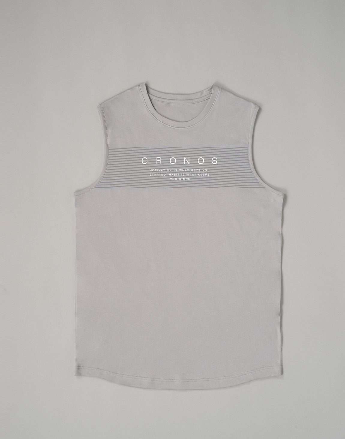 <img class='new_mark_img1' src='https://img.shop-pro.jp/img/new/icons1.gif' style='border:none;display:inline;margin:0px;padding:0px;width:auto;' />CRONOS PARALLEL LINE LOGO  MUSLE TOP【GRAY】