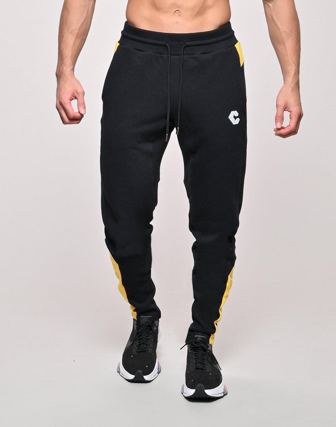 CRONOS SIDE CALF LOGO SWEAT PANTS【BLACK×YELLOW】