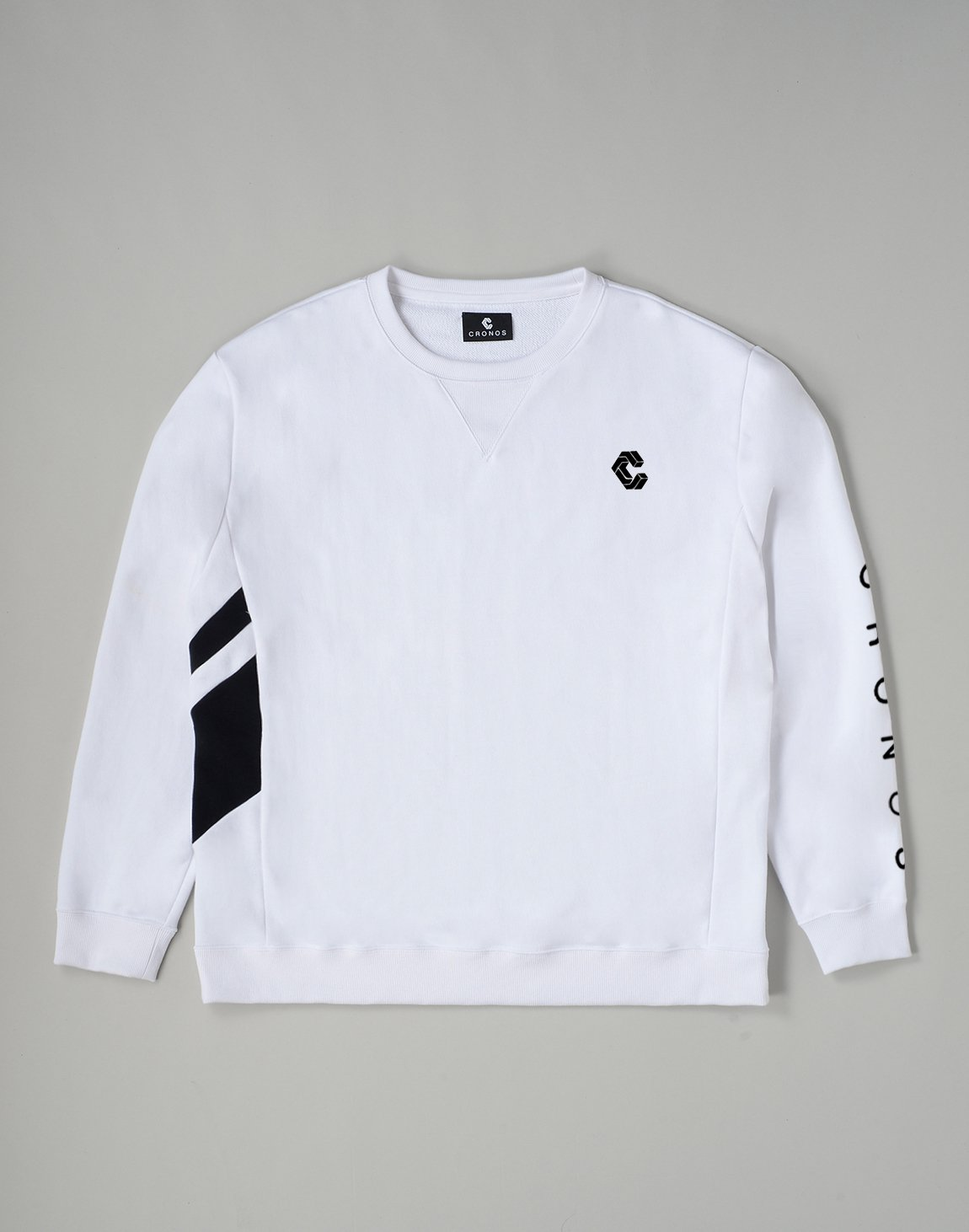 <img class='new_mark_img1' src='https://img.shop-pro.jp/img/new/icons1.gif' style='border:none;display:inline;margin:0px;padding:0px;width:auto;' />CRONOS SLANTED LINE SWEATSHIRT【WHITE】