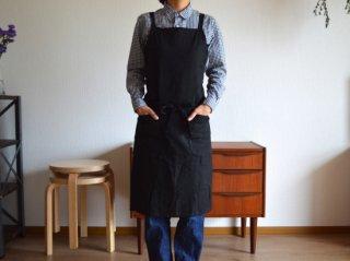 ramie apron / BLACK
