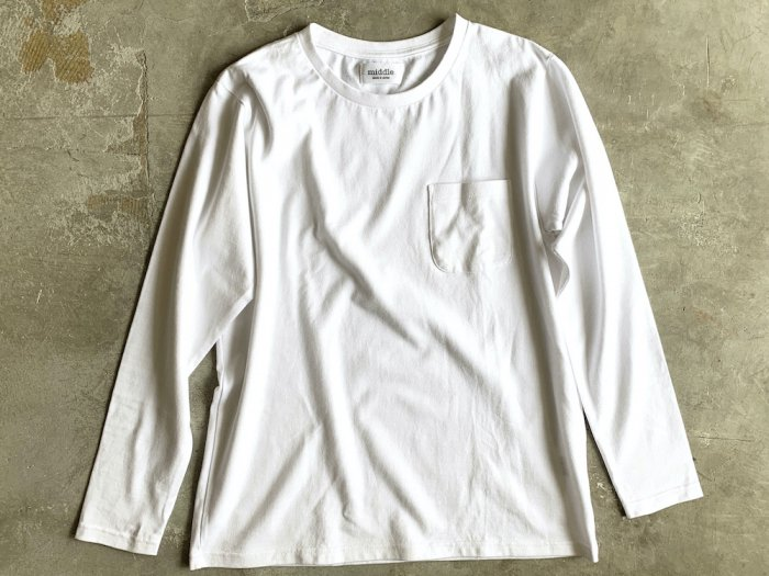 pocket long sleeve t-shirt / WHITE