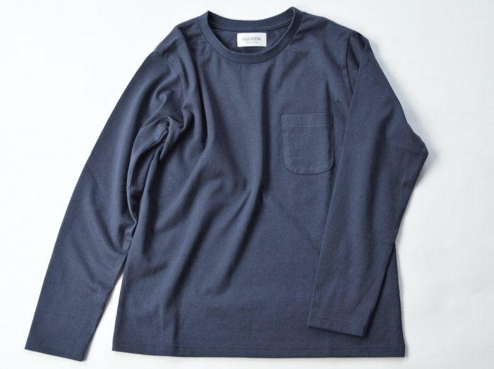 pocket long sleeve t /  CHARCOAL GREY