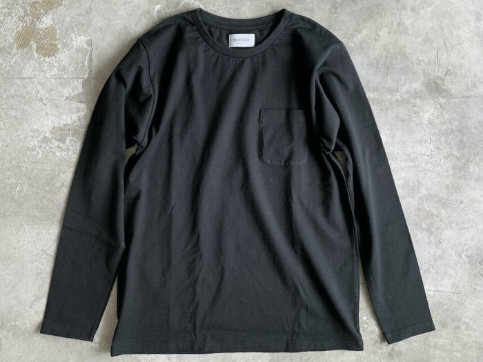 pocket long sleeve t-shirt /  BLACK