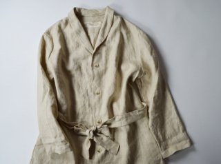 Alluaudia works  linen shawl collar coat/ BEIGE