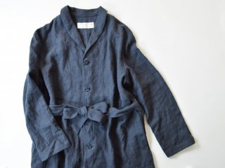 Alluaudia works  linen shawl collar coat/ NAVY