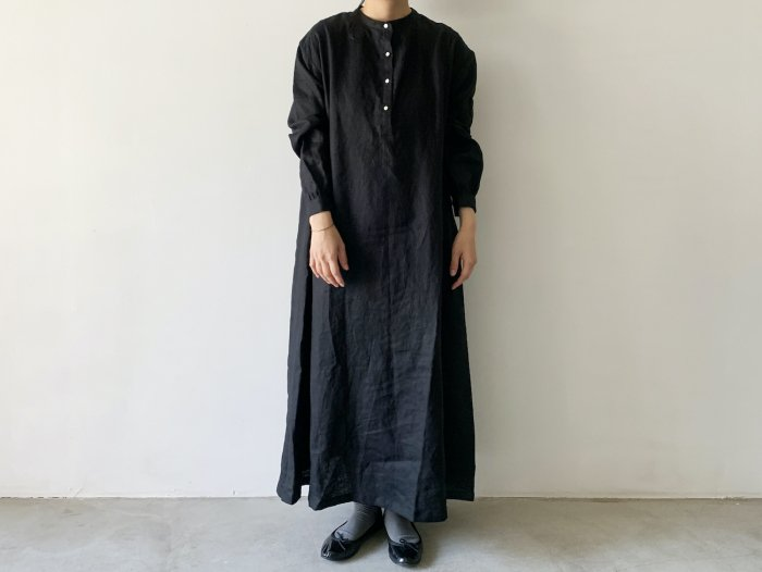 linen long one-piece / BLACK
