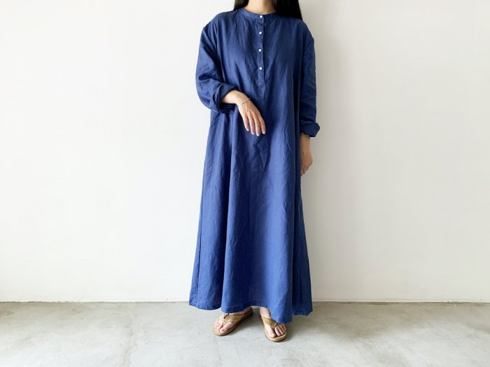 linen long one-piece / BLUE