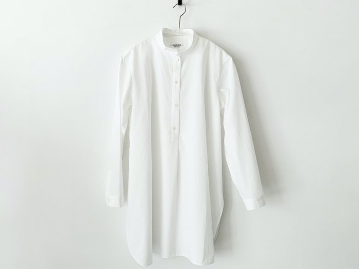 stand collar long shirt / WHITE