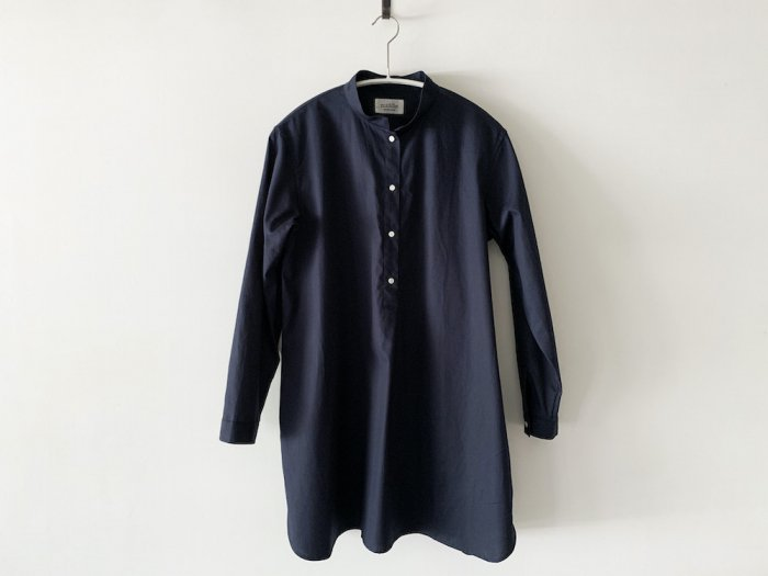 stand collar long shirt / NAVY