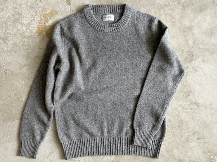 wool crew neck sweater / GREY