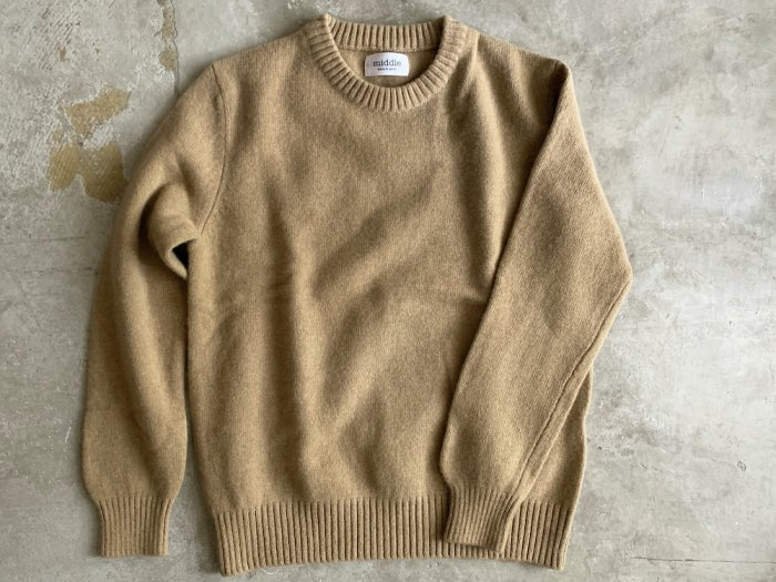 <img class='new_mark_img1' src='//img.shop-pro.jp/img/new/icons8.gif' style='border:none;display:inline;margin:0px;padding:0px;width:auto;' />wool crew neck sweater / CAMEL