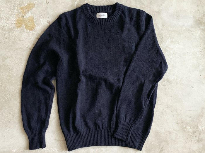 wool crew neck sweater / NAVY