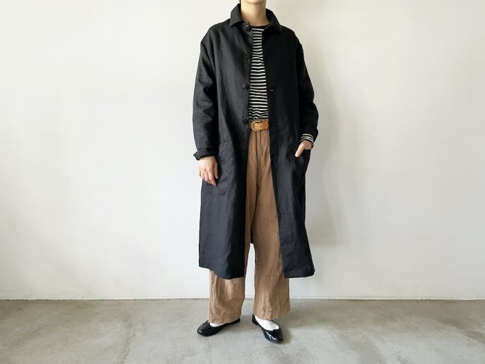 <img class='new_mark_img1' src='https://img.shop-pro.jp/img/new/icons8.gif' style='border:none;display:inline;margin:0px;padding:0px;width:auto;' />linen shop coat / BLACK