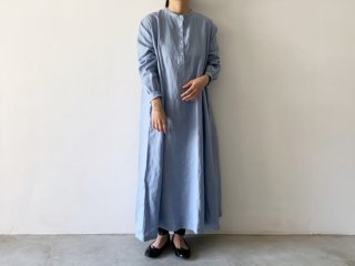 linen long one-piece /  SAX