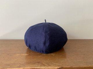 kid's linen beret /NAVY