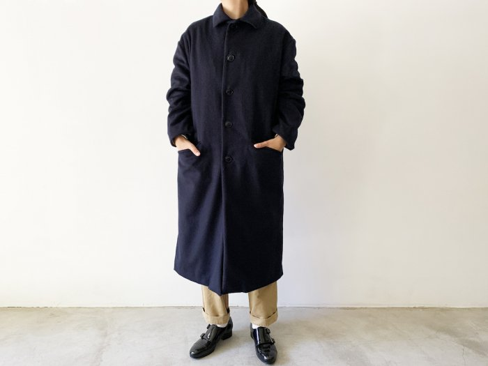 <img class='new_mark_img1' src='https://img.shop-pro.jp/img/new/icons8.gif' style='border:none;display:inline;margin:0px;padding:0px;width:auto;' />wool flannel overcoat / NAVY