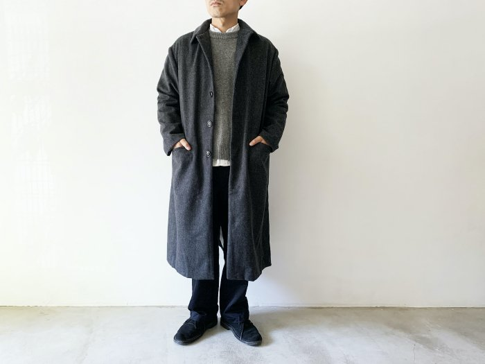 <img class='new_mark_img1' src='https://img.shop-pro.jp/img/new/icons8.gif' style='border:none;display:inline;margin:0px;padding:0px;width:auto;' />wool flannel overcoat / GREY
