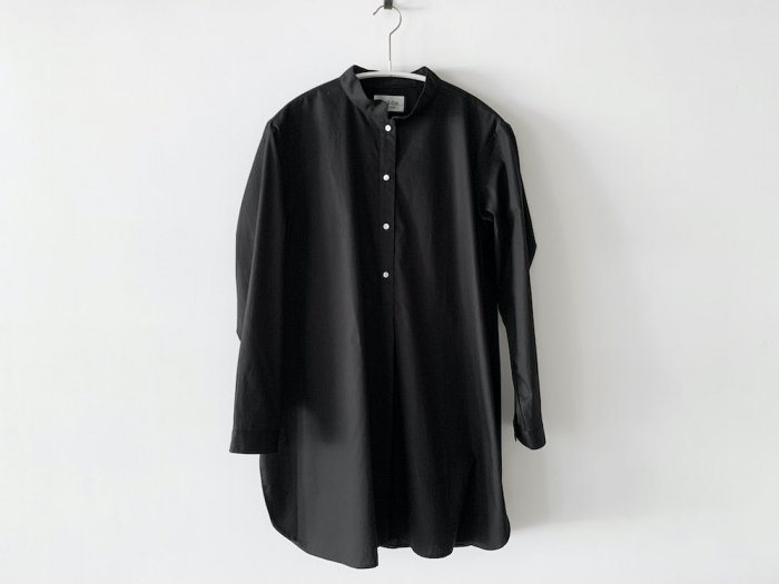 stand collar long shirt / BLACK