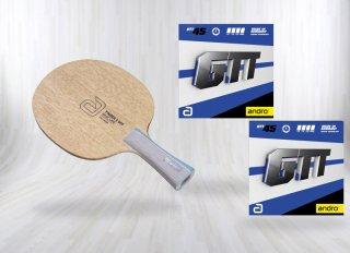 【期間限定50%OFF】andro(アンドロ) 本格ラケットセット ティンバー5 OFF+GTT45 貼り合わせ済みフルセット